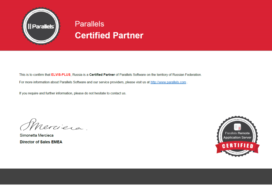 Parallels Certified Partner